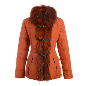 2012 Nyeste Moncler Grillon Womens Jackets Fur Collar Orange DG3