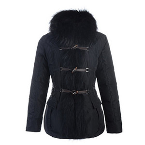 2012 Nyeste Moncler Grillon Womens Jackets Fur Collar Black DG65