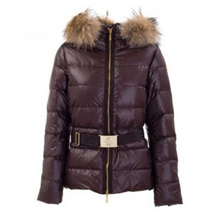 DG2275 Womens Moncler Angers Pelz Hood Steppjacke Brown [dadc]