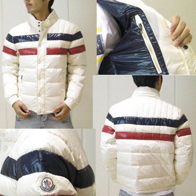 97a3b3121575 Moncler Striped Technical Menuire Mens Jackets Cream DG6157  e301 ...