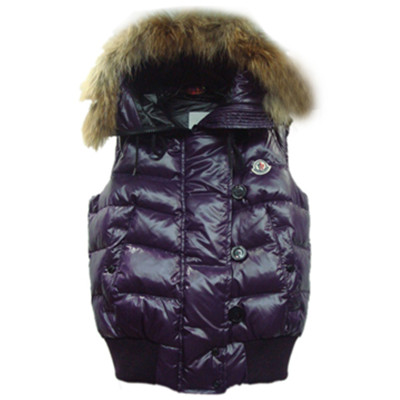 f1f5326ccb4c Womens Moncler Tarn Quilted Vest With Racoon Fur Trimmed Hood Purple ...