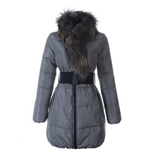 2012 New Moncler Lievre Womens Long Down Coat Grey DG7465 [abf7]