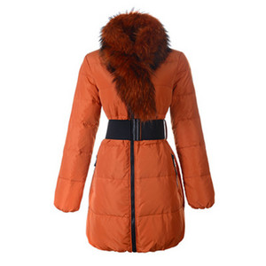 DG8416 2012 New Moncler Lievre Womens Long Down Coat Orange [49ea]