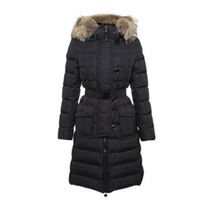 DG8841 Womens Moncler Genevrier Belted Coat Black [ad1a]