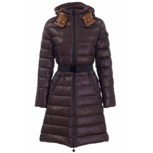 DG8944 Womens Moncler Mokacine Coffee Long Coat With Belt [c8c3]