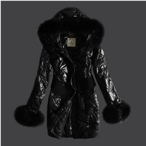 DG9152 Womens Moncler Long Belt Down Coats Black [2e9f]