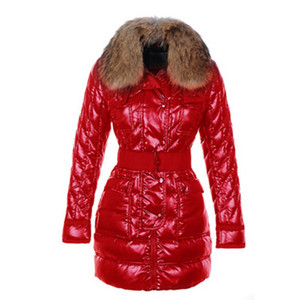 Moncler Astere Quilted Womens Coat With Raccoon Fur Collar Red DG2286 [b225]