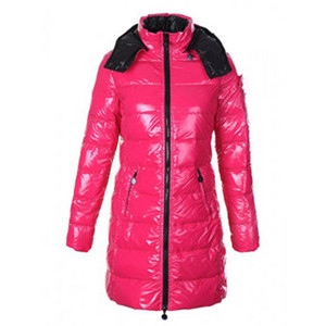 Moncler Mokacine Womens Long Down Coat Pink With Hoody DG3735 [d6a3]