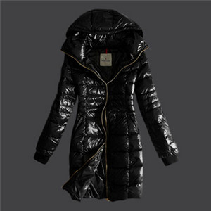 Womens Moncler Gold Zip Hooded Down Coats Black DG8368 [40d6]