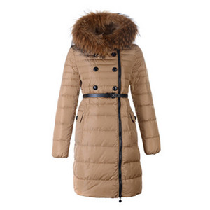Womens Moncler Herisson Down Coat Fur Collar Khaki DG7739 [a9bc]