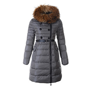 Womens Moncler Herisson Down Coat Fur Collar Grey DG7584 [9684]