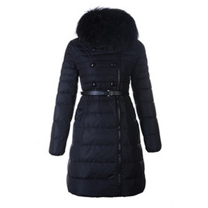Womens Moncler Herisson Down Coat Fur Collar Black DG1179 [7543]