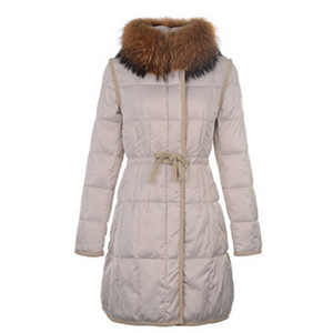 Womens Moncler Long Down Coat Fur Collar Beige DG2876 [1f57]