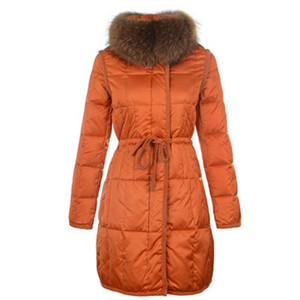 Womens Moncler Long Down Coat Fur Collar Orange DG8237 [c1b3]