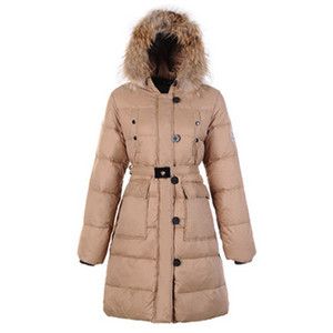 Womens Moncler Melina Fur Coat Light Beige DG6359 [e67b]