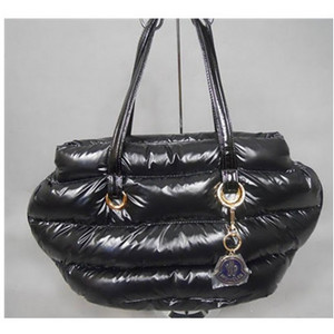 DG1716 Womens Moncler Patent Leather Shiny Handbags Black [cc8d]