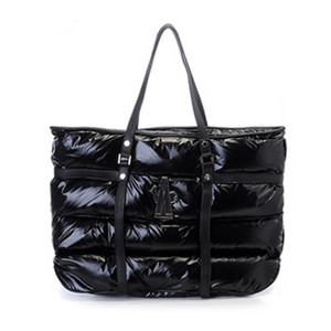 Womens Moncler Calfskin Patent Leather Handle Handbags Black DG3947 [2ea7]