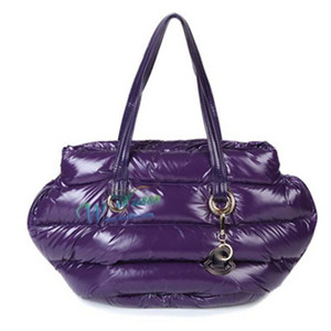 Womens Moncler Patent Leather Shiny Handbags Dark Purple DG9781 [c342]