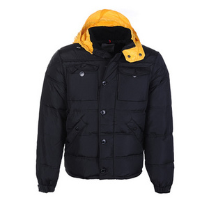 Moncler Republique Mens Down Jackets Black With Yellow Hooded DG2367 [ea50]