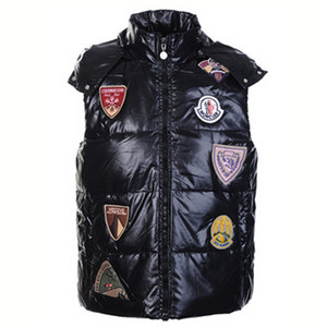 DG2599 Mens Moncler K2 Vests Mutiple Logo Zip Black [9c6a]