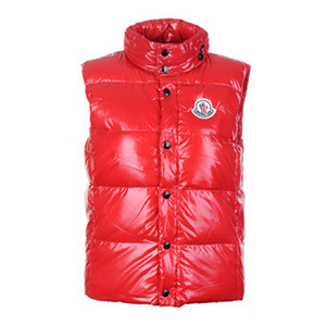 DG7383 Mens Moncler Vests Smooth Shiny Fabric Red [b146]