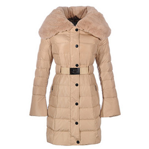 DG3263 Womens Moncler Single-breasted Long Down Coats Beige [63ae]