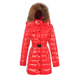 Moncler 2012 Armoise Womens Long Down Coat Scarlet DG8919 [29fa]