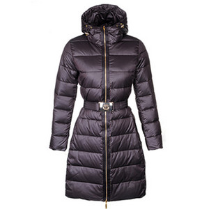 Womens Moncler Nates Long Down Coat Coffee DG7717 [d8ae]