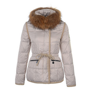 DG4246 Womens Moncler Newest Short Down Jackets With Fur Collar Beige [1787]