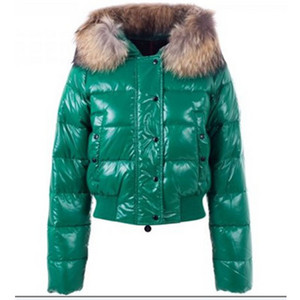 Womens Moncler Alpes Quilted Fur Hood Down Jackets Emerald Green DG7185 [174a]