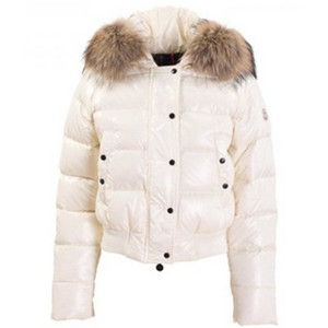 Womens Moncler Alpes Quilted Fur Hood Down Jackets White DG6439 [90e0]