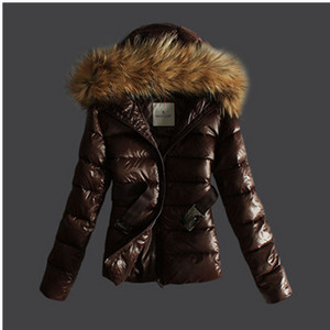 Womens Moncler Hood With Belt Down Jackets Coffee DG2135 [5b3e]