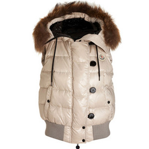 DG1738 Womens Moncler Tarn Quilted Vest With Racoon Fur Trimmed Hood Pink [77cc]