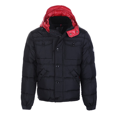 DG3221 Moncler Republique Mens Down Jackets Black With Red Hooded [a06b]