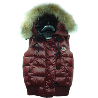 Womens Moncler Tarn Quilted Vest With Racoon Fur Trimmed Hood Wine Red DG1278 [530d]