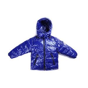 Kids Moncler Jakker Metallic Fabric Hooded Blå DG6112 [1d4c]
